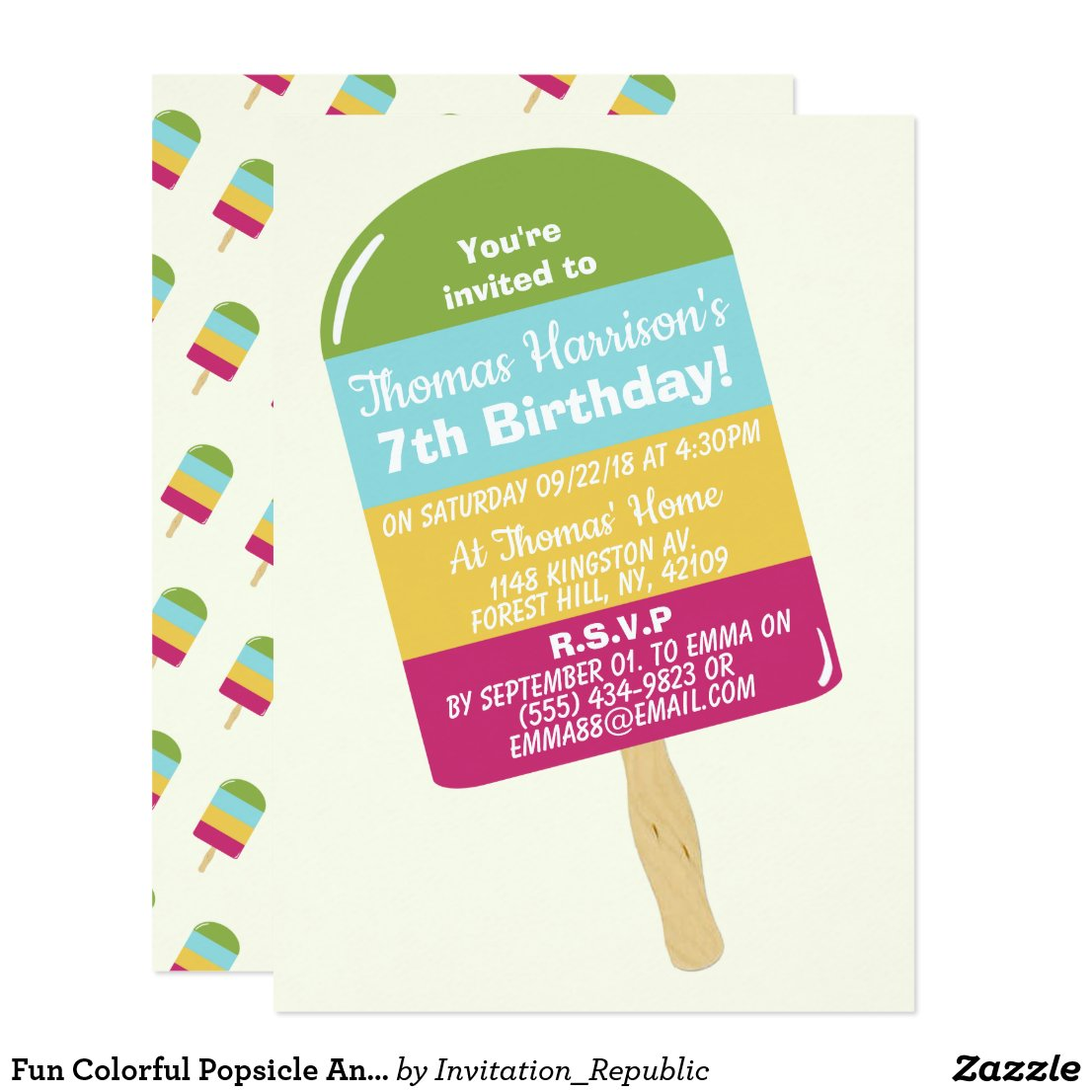 Cool Popsicle Summer Birthday Party Card