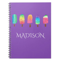 Cool Popsicles Purple Custom School Notebook
