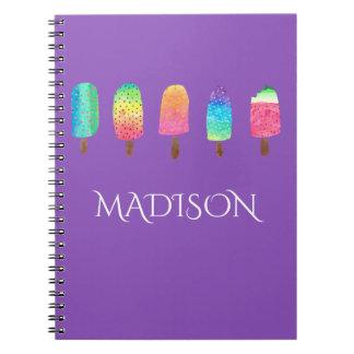 Cool Popsicles Purple Custom School Notebook