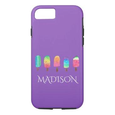 USA Themed Cool Popsicles Trendy Purple Custom School iPhone 7 Case