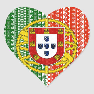 Cool Portugal Aztec flag Stylish pattern Heart Sticker
