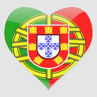 Cool Portugal Flag colourful Country Nationality Heart Sticker