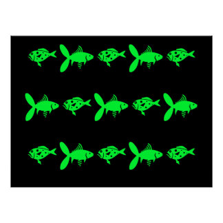 Cool Poster Black Background with Green Fish