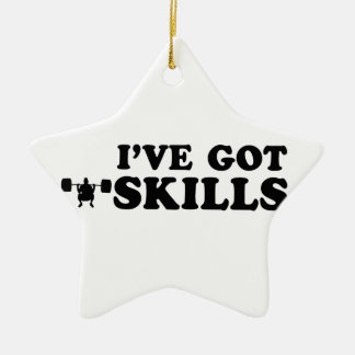 cool power lift designs Double-Sided star ceramic christmas ornament