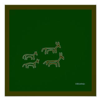Cool Prehistoric Man Cave Wall Decor Animals Poster