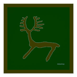 Cool Prehistoric Man Cave Wall Decor Deer Perfect Poster