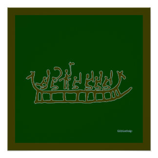 Cool Prehistoric Man Cave Wall Decor Dragon Ship Perfect Poster