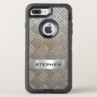 Cool Premium Diamond Cut Metallic Plate Pattern OtterBox Defender iPhone 8 Plus/7 Plus Case