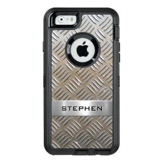 Cool Premium Diamond Cut Metallic Plate Pattern OtterBox Defender iPhone Case