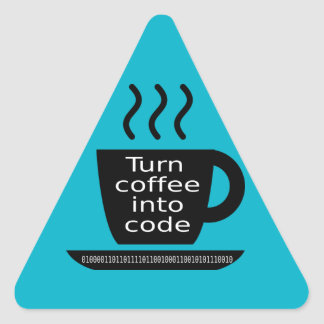Cool Programmer Geek Coffee Addiction Triangle Sticker