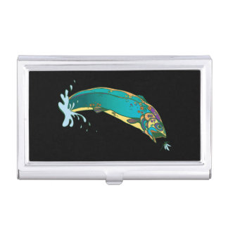 Cool Psychedelic Jumping Trout Business Card Holder