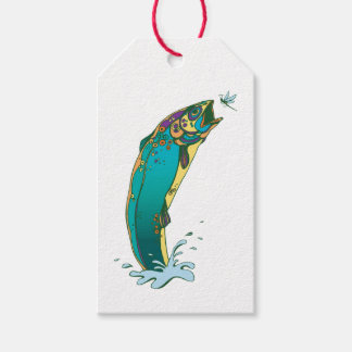 Cool Psychedelic Jumping Trout Gift Tags