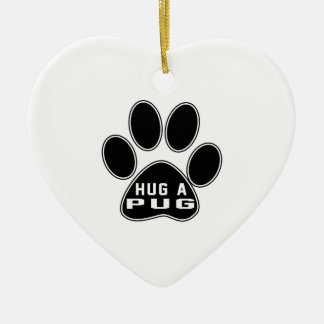 Cool Pug Designs Double-Sided Heart Ceramic Christmas Ornament