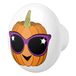 Cool Pumpkin Wearing Retro Cat Sunglasses Ceramic Knob