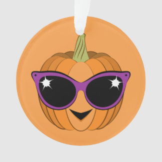 Cool Pumpkin Wearing Retro Cat Sunglasses Ornament