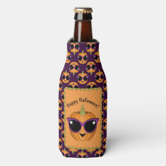 Cool Pumpkin Wearing Retro Cat Sunglasses Pattern Bottle Cooler
