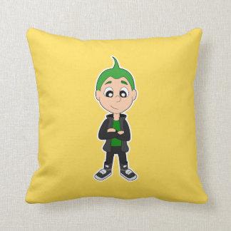 Cool punk kid cartoon pillow