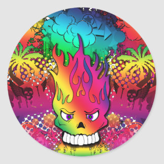 Cool Punk Skull Grunge Digital Design Sticker