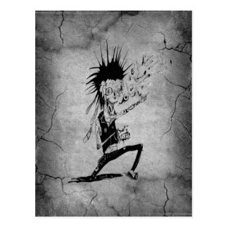 Cool punk zombie grey cracked wall black grey postcards