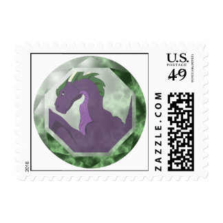 Cool Purple And Green Dragon Gem Stamps