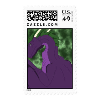 Cool Purple And Green Dragon Postage