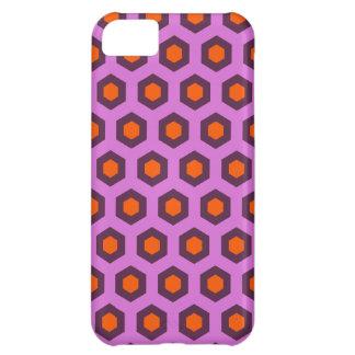Cool purple and orange hexagon pattern iPhone 5C cases