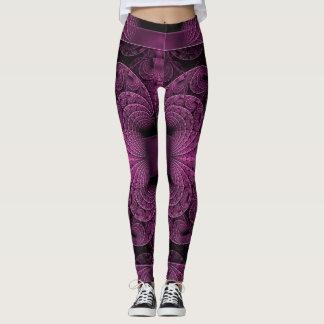 Cool Purple Black Geometric Abstract Art Leggings