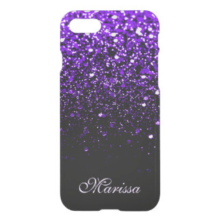 Cool Purple Black Glitter Clearly™ iPhone 7 Case