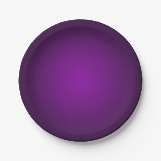 Cool Purple-Black Grainy Vignette 7 Inch Paper Plate