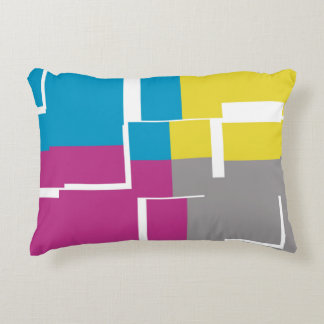 COOL Purple Blue Yellow Grey Pattern Accent Pillow
