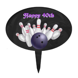 Cool Purple Bowling Ball Party Cake Topper