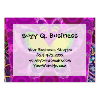 Cool Purple Butterfly Concentric Circles Mosaic Large Business Cards (Pack Of 100)