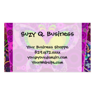 Cool Purple Butterfly Concentric Circles Mosaic Double-Sided Standard Business Cards (Pack Of 100)