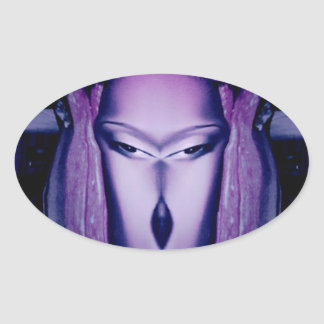Cool purple character for people of all ages oval sticker