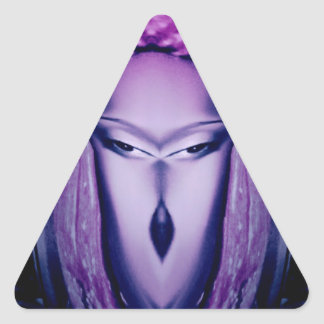 Cool purple character for people of all ages triangle sticker