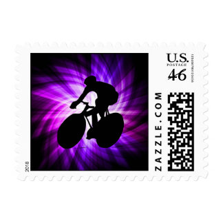 Cool Purple Cycling Postage Stamps