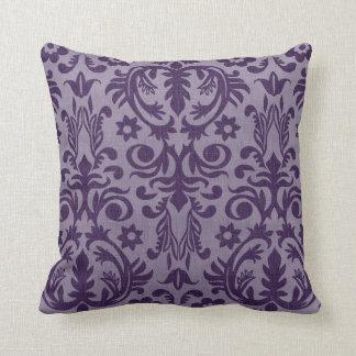 Cool Purple Damask Throw Pillow