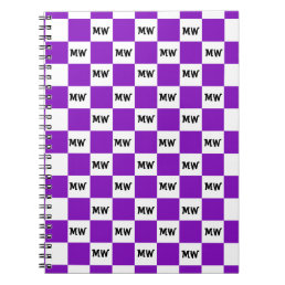 Cool Purple Geometric Checkered Monogram Initials Notebook