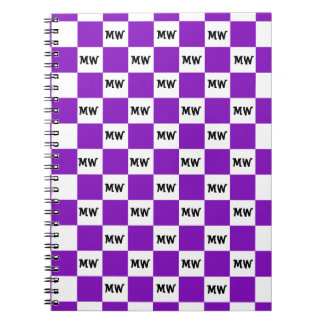 Cool Purple Geometric Checkered Monogram Initials Spiral Note Book