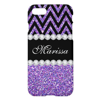 Cool Purple Glitter Black Chic Chevron Stripes iPhone 8/7 Case