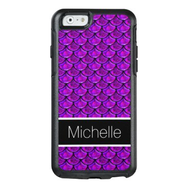 Beach Themed Cool Purple Glitter Glass Black Mermaid Scales OtterBox iPhone 6/6s Case