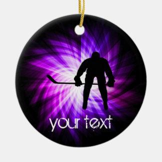 Cool Purple Hockey Ceramic Ornament