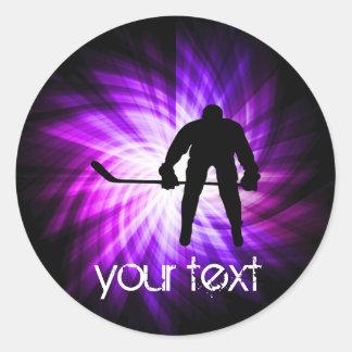 Cool Purple Hockey Classic Round Sticker