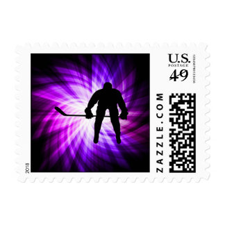 Cool Purple Hockey Postage Stamps