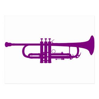 Cool Purple Jazz Trumpet Musical Instrument Postcard