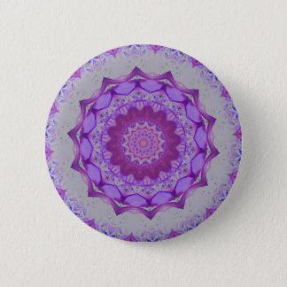 Cool Purple Kaleidoscope  Mandela Pattern Button