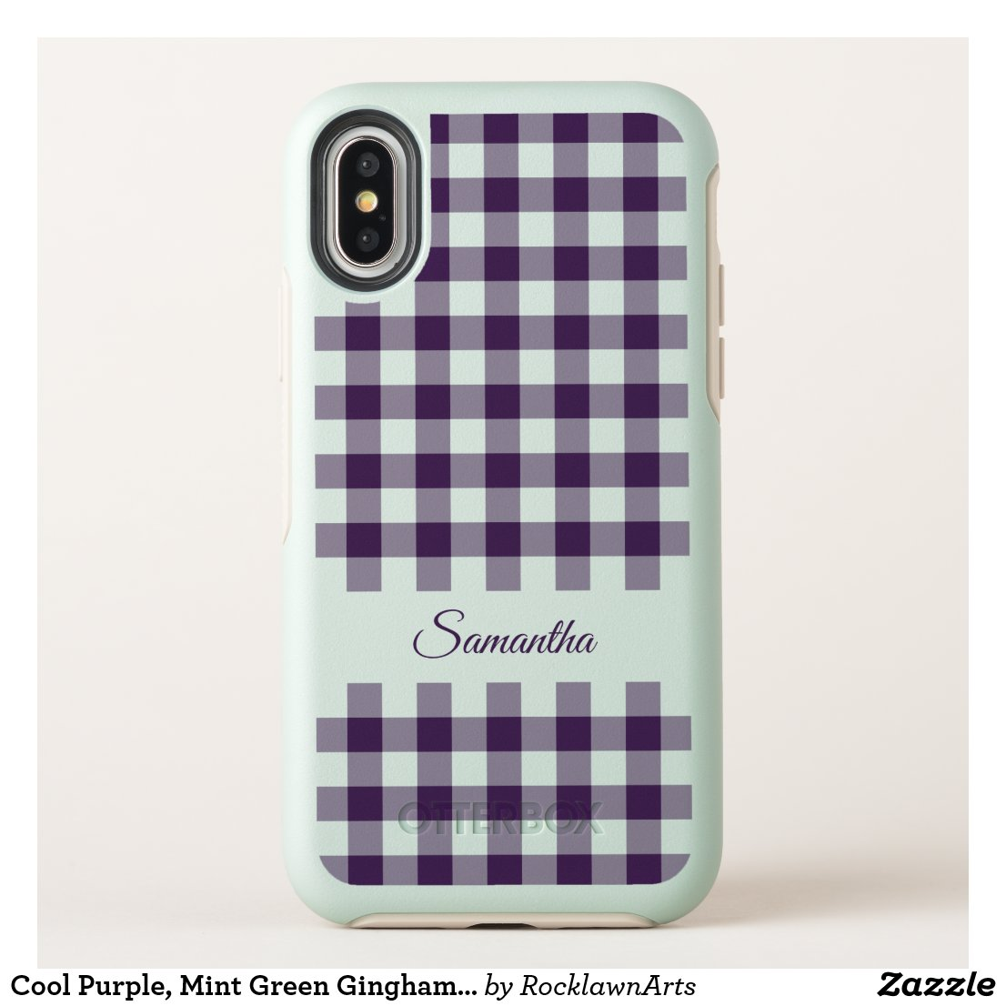 Cool Purple, Mint Green Gingham Plaid, Your Name OtterBox Symmetry iPhone X Case