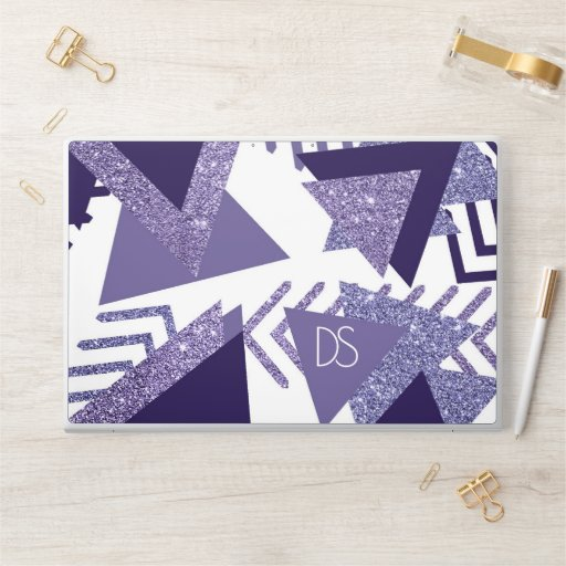 Cool Purple Passion | 90s Abstract Shapes Monogram HP Laptop Skin