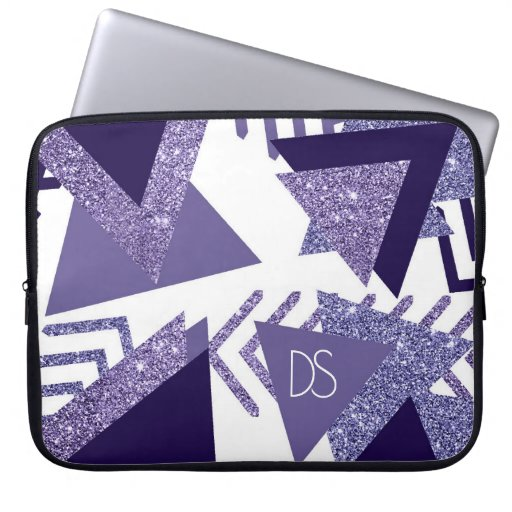 Cool Purple Passion | 90s Abstract Shapes Monogram Laptop Sleeve