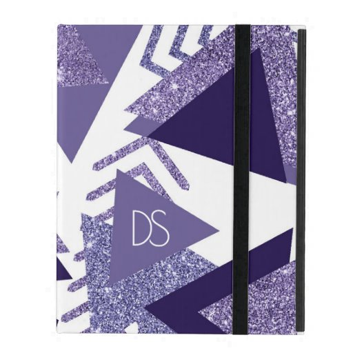 Cool Purple Passion | 90s Pattern Shapes Monogram iPad Case